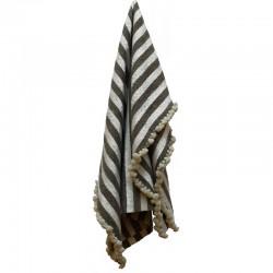 Plaid en laine rayures taupe / ivoire avec pompons ivoire 100 x200 cm